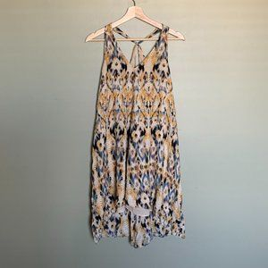 UO Ecote yellow & blue patterned high low dress S